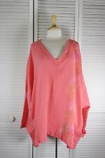 Mantle L/S/ Tunic Top - Coral w/ Motif Art OSFA by Blue Fish Red Moon Clothing