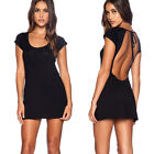 Sexy Women Clubwear Dress Backless Short Sleeve Summer Dress Black Mini Dresses
