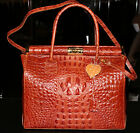 Croco Print Genuine Calfskin Leather Carry On Tote Handbag WOW
