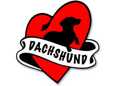 4x4 inch Heart & Banner Shaped DACHSHUND Sticker - dog weener weiner wiener dach