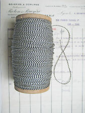 """10 yd Vintage Antique French Metallic Blk/Wh/Silve Cord Rope Bakery Twine 1/16"""""""