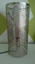 SILVER MOROCCAN METAL ELECTRICAL TABLE LAMP NEW LIGHTING CUTOUT FRETWORK