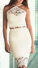 BNWT Lipsy Michelle Keegan White Two Piece Co Ord Lace Skirt & Top Size 14 Dress