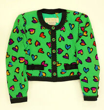 """""""Escada by Bergorf Goodman, Heart Print Green Quilted Cropped Jacket Size 38"""""""