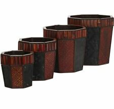 Home Decor Bamboo Octagon Decorative Flower Pot Patio Planters (Set of 4)