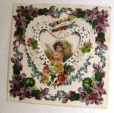 1900s Era Layered Valentine's Day Card Angel on Old Style Phone