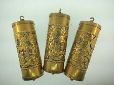 Set of 3 Fancy Brass Perorated Vienna Clock Weight Shells with weight Inserts
