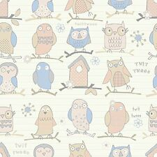 Debona Twit Twoo Owl Pattern Bird Motif Striped Childrens Wallpaper (Beige 6344)