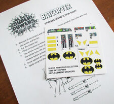 SUPER POWERS COLLECTION REPLACEMENT STICKERS for Kenner 1986 BATCOPTER