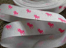 1m g/grain WHITE 22mm ribbon PINK polo pony horse use dummy /hair clip cake