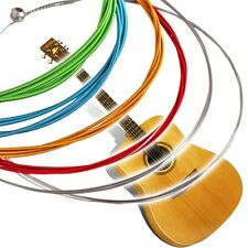 HOT 1 SET 6 Rainbow Multi Color Acoustic Guitar Strings Stainless Steel Alloy
