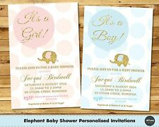 ELEPHANT BABY SHOWER PERSONALISED INVITATION INVITE CARD PINK GOLD BOY GIRL