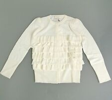 New Authentic Gucci Ruffle Wool/Cashmere/Silk Sweater Top, White, 4, 270714