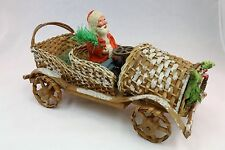 Santa in Wicker Car pre- 1920's Belsnickel Candy Holder Hand Made in Germany