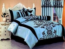 7 Pc MODERN Black Blue Flock Satin COMFORTER SET BED IN A BAG QUEEN SIZE BEDDING