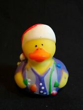 "Christmas Lights Santa Claus Rubber Ducky 2"" Duckie Squeezable Holiday Toy"