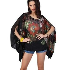 LADIES BLACK BATWING KIMONO SLEEVE BLOUSE TOP 1 SIZE 8 10 12 14 16 18 20 22 NEW