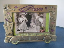 """""""PROM"""" PICTURE FRAME, HOLDS 4.5"""" x 3"""" PHOTO, PEWTER, LIMO,TICKETS, MOON & STARS"""