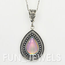 New Vintage Multi Color Change Teardrop Mood Necklace retro Free Color Chart