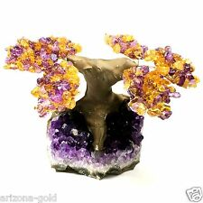 Amethyst & Citrine Geode Crystal Cluster Wire Tree Of Life art TWIN SPIRIT TREE