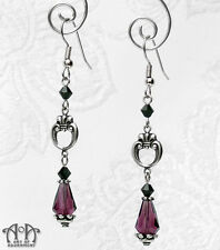 Gothic Antique Silver BLACK PURPLE CRYSTAL EARRINGS Victorian Style Teardrop E14