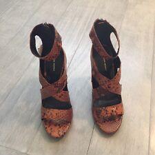 ZARA Women's High Heel Printed Leather Sandal(Brown, Size:US 6.5/EUR 37)