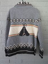 PENDLETON WOOL SWEATER JACKET GRAY BLACK NAVAJO TEPEE INDIAN BLANKET PRINT LARGE
