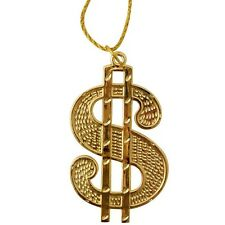 70s 80s Fancy Dress Gold Colour $ Dollar Medallion with Rope Chain Rapper New
