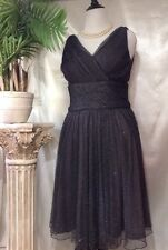Coldwater Creek Womens Holiday Party Cocktail DRESS 12 L Black Silver Metallic