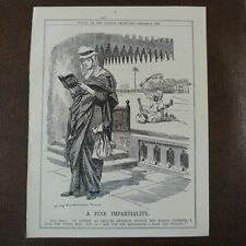 """7x10"""" punch cartoon 1908 A FINE IMPARTIALITY hafid - aziz"""