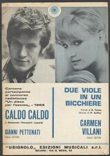 CARMEN VILLANI Due viole in un bicchiere + GIANNI PETTENATI Caldo 1969 Spartiti