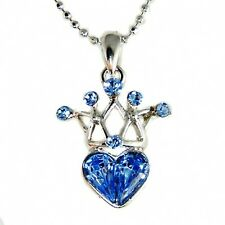 Blue w Swarovski Crystal Fairy ~Cute CROWN HEART~ charm Pendant Necklace Jewelry