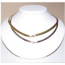"Sterling Silver & 14k Gold Reversible Omega Necklace.4MM 16"" New 50"