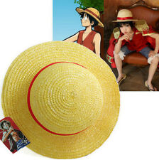 US STOCK Luffy Straw Hat Yellow Red Ribbon Cosplay Adult Cap Costume Accessory