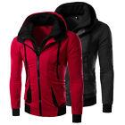Trendy Men's Warm Slim Fit Double Zipper Hooded Coat Hoodies Tops Jackets Sweats