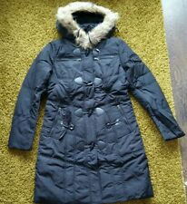 Fashion women padded mid length coat with faux fur size M
