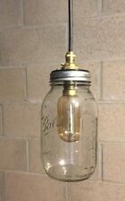 Vintage Retro Glass Mason Jam Jar Ceiling Light Brass Pendant Shade Lighting