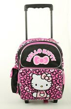 "New Hello Kitty  12"" Rolling BackPack - Rolling School Bag Ribbons Black/Pink!!!"