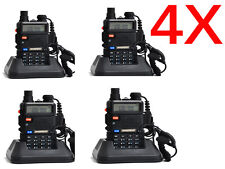4 pack Baofeng UV-5R Two Way Radio FM LED 10KM Range 1800mAh w/charger earpiece