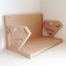 Routered 18mm MDF Quality Flat packed Wooden Shelf. Superman Book Shelf - SH22