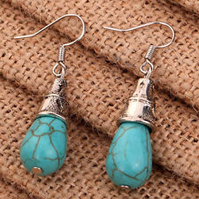 New Jewelry Women Blue Turquoise &Sterling Silver Drop Dangle Earrings