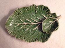 Bordallo Pinheiro Cabbage Green Leaf Chip & Dip Plate. 11""