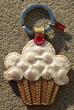 COACH CUPCAKE Key Fob Chain Style #92558 White gold cherry on top