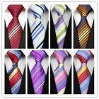 COM03 Pink Purple Yellow Red Blue Black Striped Classic Silk Men's Tie Necktie