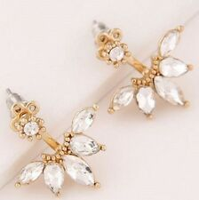 GOLD PLATED FLOWER CRYSTAL EAR CUFF STUD DOUBLE EARRINGS