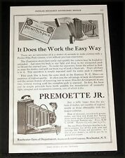 1917 OLD MAGAZINE PRINT AD, PREMOETTE JR. CAMERA, IT DOES THE WORK THE EASY WAY!