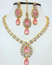 SOUTH INDIAN  BOLLYWOOD INDIAN  GOLD Zx TONE NECKLACE SET PARTY WEAR JEWELRY
