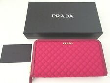 PRADA Wallet Nylon Leather Quilted Wallet Zip Around Fushia 1ML506 New
