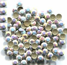 1440 RHINESTUDS Faceted Metal 3mm AB SILVER HotFix 10 gross