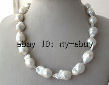Unusual Natural White Keshi Keishi Baroque Pearl Necklace 18""